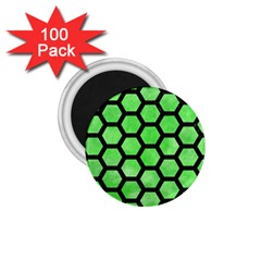 Hexagon2 Black Marble & Green Watercolor (r) 1 75  Magnets (100 Pack)  by trendistuff