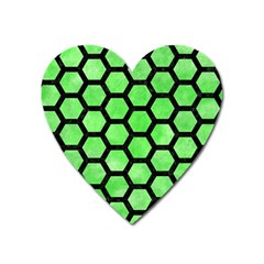 Hexagon2 Black Marble & Green Watercolor (r) Heart Magnet by trendistuff