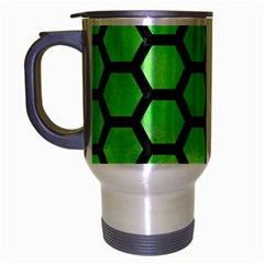 Hexagon2 Black Marble & Green Watercolor (r) Travel Mug (silver Gray) by trendistuff