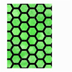 Hexagon2 Black Marble & Green Watercolor (r) Small Garden Flag (two Sides) by trendistuff
