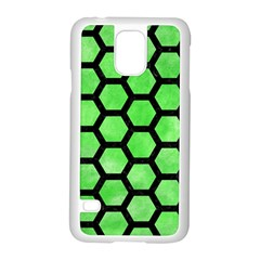 Hexagon2 Black Marble & Green Watercolor (r) Samsung Galaxy S5 Case (white) by trendistuff