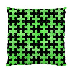 Puzzle1 Black Marble & Green Watercolor Standard Cushion Case (two Sides) by trendistuff