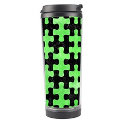 Puzzle1 Black Marble & Green Watercolor Travel Tumbler by trendistuff