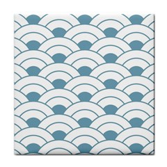 Art Deco,shell Pattern,teal,white Tile Coasters by 8fugoso