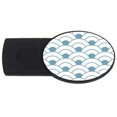 Art Deco,shell Pattern,teal,white Usb Flash Drive Oval (2 Gb) by 8fugoso