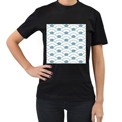 Art Deco,shell Pattern,teal,white Women s T Shirt (black) (two Sided) by 8fugoso