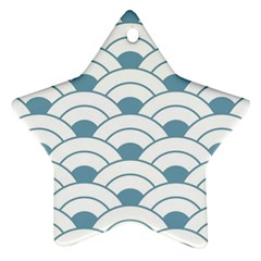 Art Deco,shell Pattern,teal,white Star Ornament (two Sides) by 8fugoso