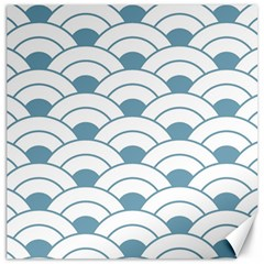Art Deco,shell Pattern,teal,white Canvas 12  X 12   by 8fugoso
