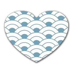 Art Deco,shell Pattern,teal,white Heart Mousepads by 8fugoso
