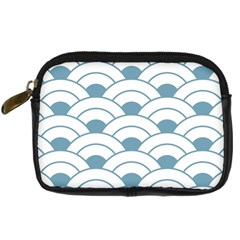 Art Deco,shell Pattern,teal,white Digital Camera Cases by 8fugoso