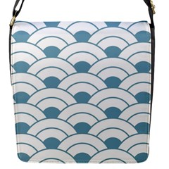 Art Deco,shell Pattern,teal,white Flap Messenger Bag (s) by 8fugoso