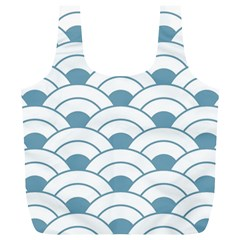 Art Deco,shell Pattern,teal,white Full Print Recycle Bags (l)  by 8fugoso