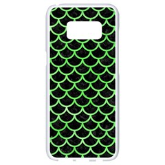 Scales1 Black Marble & Green Watercolor Samsung Galaxy S8 White Seamless Case