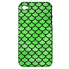 Scales1 Black Marble & Green Watercolor (r) Apple Iphone 4/4s Hardshell Case (pc+silicone)