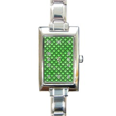 Scales2 Black Marble & Green Watercolor (r) Rectangle Italian Charm Watch by trendistuff