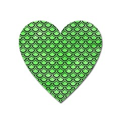 Scales2 Black Marble & Green Watercolor (r) Heart Magnet by trendistuff