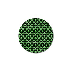 Scales3 Black Marble & Green Watercolor Golf Ball Marker by trendistuff