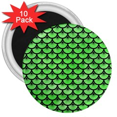 Scales3 Black Marble & Green Watercolor (r) 3  Magnets (10 Pack)
