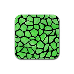 Skin1 Black Marble & Green Watercolor Rubber Square Coaster (4 Pack)  by trendistuff