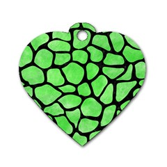 Skin1 Black Marble & Green Watercolor Dog Tag Heart (one Side) by trendistuff
