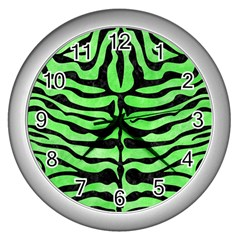 Skin2 Black Marble & Green Watercolor (r) Wall Clocks (silver)  by trendistuff