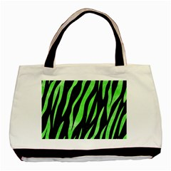 Skin3 Black Marble & Green Watercolor Basic Tote Bag (two Sides)