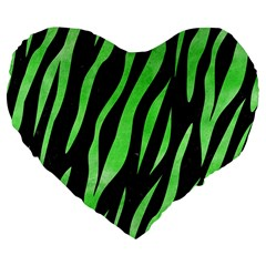 Skin3 Black Marble & Green Watercolor Large 19  Premium Flano Heart Shape Cushions by trendistuff
