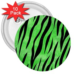 Skin3 Black Marble & Green Watercolor (r) 3  Buttons (10 Pack)  by trendistuff