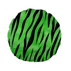 Skin3 Black Marble & Green Watercolor (r) Standard 15  Premium Round Cushions by trendistuff