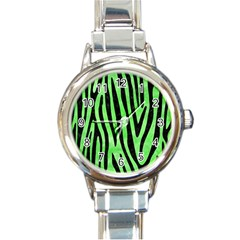 Skin4 Black Marble & Green Watercolor Round Italian Charm Watch by trendistuff