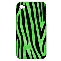 Skin4 Black Marble & Green Watercolor Apple Iphone 4/4s Hardshell Case (pc+silicone)