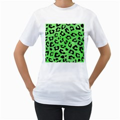 Skin5 Black Marble & Green Watercolor Women s T Shirt (white) (two Sided)