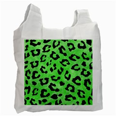 Skin5 Black Marble & Green Watercolor Recycle Bag (two Side)  by trendistuff