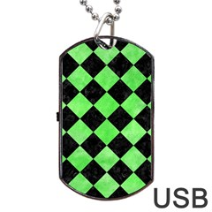 Square2 Black Marble & Green Watercolor Dog Tag Usb Flash (two Sides) by trendistuff