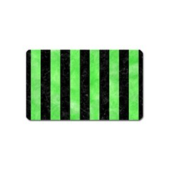 Stripes1 Black Marble & Green Watercolor Magnet (name Card) by trendistuff