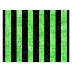 Stripes1 Black Marble & Green Watercolor Rectangular Jigsaw Puzzl by trendistuff