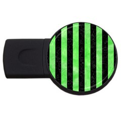 Stripes1 Black Marble & Green Watercolor Usb Flash Drive Round (4 Gb) by trendistuff