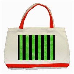 Stripes1 Black Marble & Green Watercolor Classic Tote Bag (red) by trendistuff