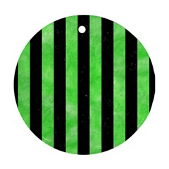Stripes1 Black Marble & Green Watercolor Round Ornament (two Sides) by trendistuff