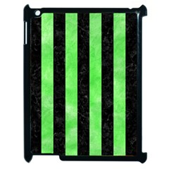 Stripes1 Black Marble & Green Watercolor Apple Ipad 2 Case (black) by trendistuff