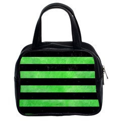 Stripes2 Black Marble & Green Watercolor Classic Handbags (2 Sides) by trendistuff