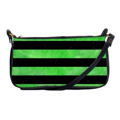 Stripes2 Black Marble & Green Watercolor Shoulder Clutch Bags by trendistuff