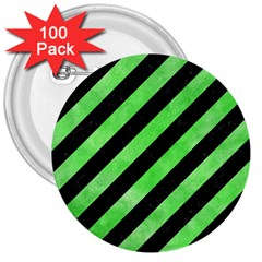 Stripes3 Black Marble & Green Watercolor 3  Buttons (100 Pack)  by trendistuff