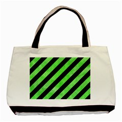 Stripes3 Black Marble & Green Watercolor Basic Tote Bag