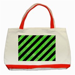 Stripes3 Black Marble & Green Watercolor Classic Tote Bag (red) by trendistuff