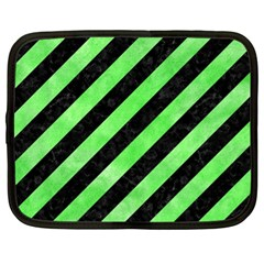 Stripes3 Black Marble & Green Watercolor Netbook Case (xl)  by trendistuff