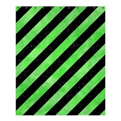 Stripes3 Black Marble & Green Watercolor Shower Curtain 60  X 72  (medium)  by trendistuff