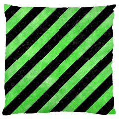 Stripes3 Black Marble & Green Watercolor Large Cushion Case (one Side) by trendistuff