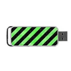 Stripes3 Black Marble & Green Watercolor Portable Usb Flash (two Sides) by trendistuff