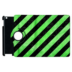 Stripes3 Black Marble & Green Watercolor Apple Ipad 3/4 Flip 360 Case by trendistuff